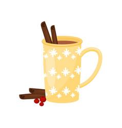 mug of tasty hot coffee with cinnamon sticks and vector image