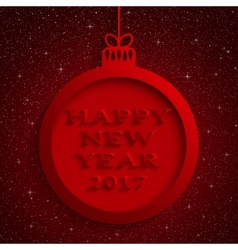 New Year Red Background Christmas Ball 2017 vector