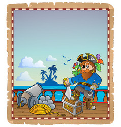 Parchment with pirate ship deck 1 vector