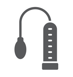 Penis pump glyph icon sex toy and adult sex vector