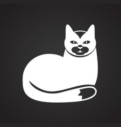 Pet cat icon on black background for graphic and vector