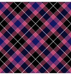 Pink blue check plaid seamless diagonal fabric vector