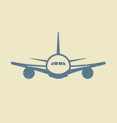 plane icon in in grunge style vector image
