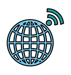 Planet sphere with wifi signal vector