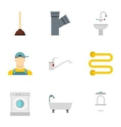 Plumbing icons set flat style vector
