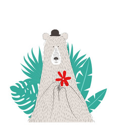 portrait of bear with palm leaves vector image