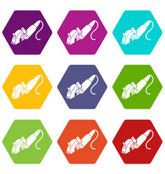 protect angle grinder icons set 9 vector image