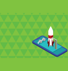 Ready to launch standing rocket lying smartphone vector