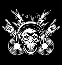 rock and roll music print angry monkey head vector image