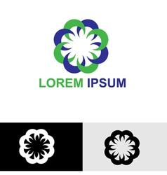 Round floral spa logo vector