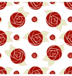 Seamless pattern of stylized red rose vector image
