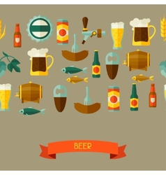 Seamless pattern with beer icons and objects vector image
