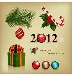 set of elements christmas icons vector image
