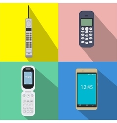 Set of history cell phones of vector