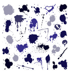 Set of ink splashes blots splatter vector