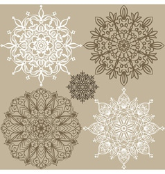 Set of round lace ornaments vector image