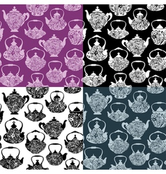 Set of seamless pattern with retro design china te vector
