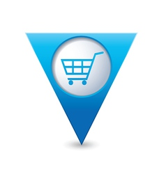 Shop basket icon pointer blue vector