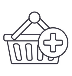 shopping cart plus line icon sign vector image