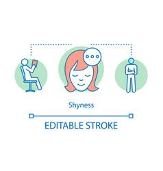 Shyness concept icon vector