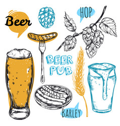 Sketch beer pub icon set vector