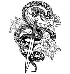 Snake dagger and roses black and white tattoo vector