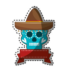 sticker decorative ornamental sugar skull with vector image