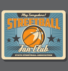 streetball and basketball sport leather ball vector image