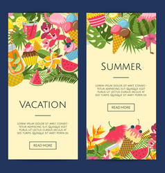 summer cocktails flamingo palm leaves vector image