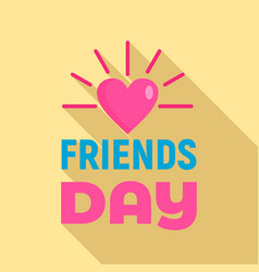 sunny heart friends day logo flat style vector image
