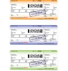 three variants of boarding pass ticket patterns vector image