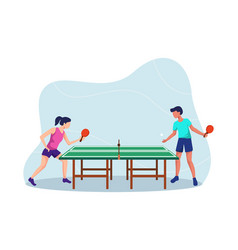 two players play table tennis vector image