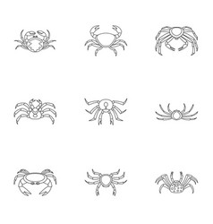 Types of crab icons set outline style vector