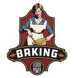vintage style baking badge or emblem vector image