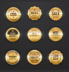warranty and quality labels golden emblems vector image