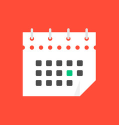 white calendar icon in flat style vector image