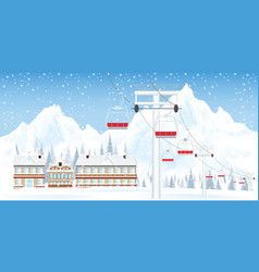 winter ski resort with ski-lift moving above the vector image