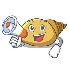 With megaphone mollusk shell character cartoon vector