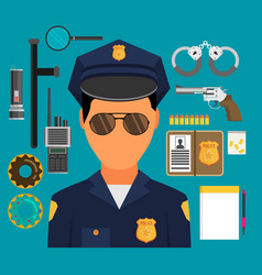 with policeman flat style elements for infographic vector image