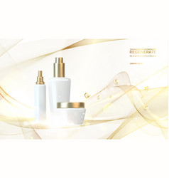 Women care cosmetic in beautiful bottles over pink vector