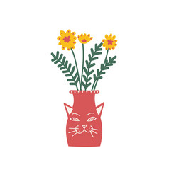yellow flowers in red vase beautiful bouquet of vector image