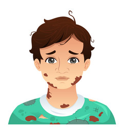 Young man with dirty mud face vector