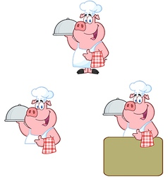 Chef Pig Collection vector image vector image