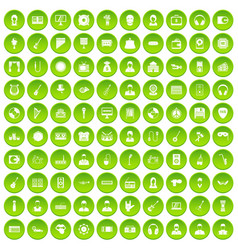 100 music icons set green circle vector image vector image