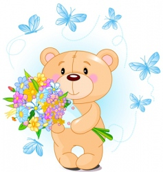 blue teddy bear with flowers vector image vector image