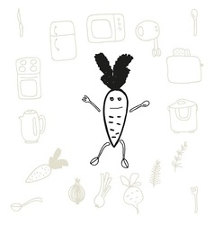 Doodle set of kitchen items and food on white back vector image