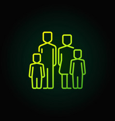 family with two children green icon vector image vector image