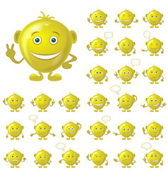 golden smileys set vector image vector image