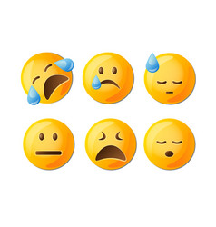sad emoticons set in yellow with facial vector image vector image