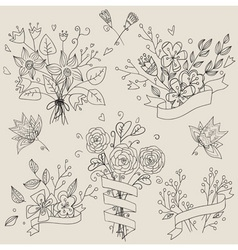 Set of hand drawn cute floral bouquets Retro vector image vector image